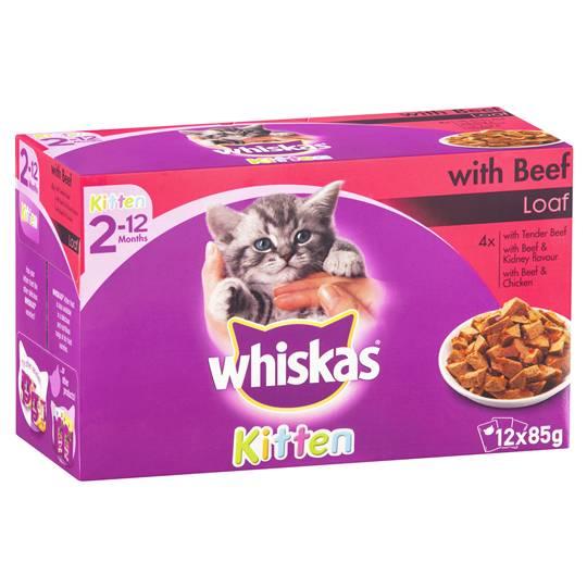 Whiskas Kitten Food Beef Multipack