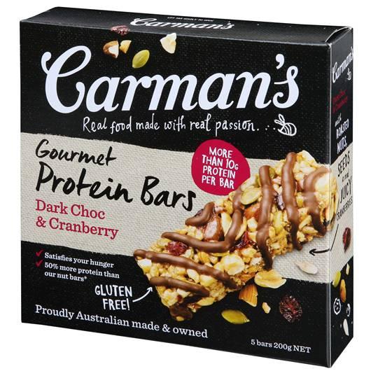 Carman's Gourmet Protein Bars Dark Choc & Cranberry