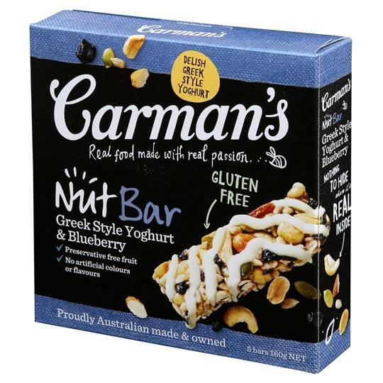 Carman's Roasted Nut Bars Greek Style Yoghurt Blueberry