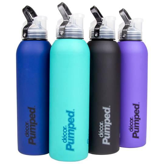 Decor pumped stainless steel bottle soft touch w flip for Decor drink bottle