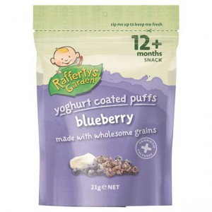 Rafferty's Garden Yoghurt Coated Puffs Blueberry Snack 12 Months+