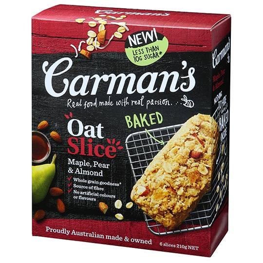 Carman's Maple, Pear & Almond Oat Slice