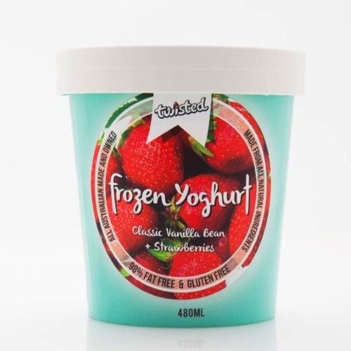 Twisted Frozen Yoghurt Vanilla Bean and Strawberry