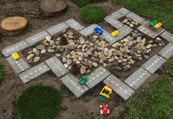 how to build a car track for the kids in your garden
