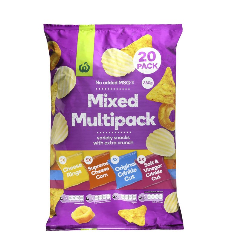reviewed Woolworths mixed multi brand chips 20pk