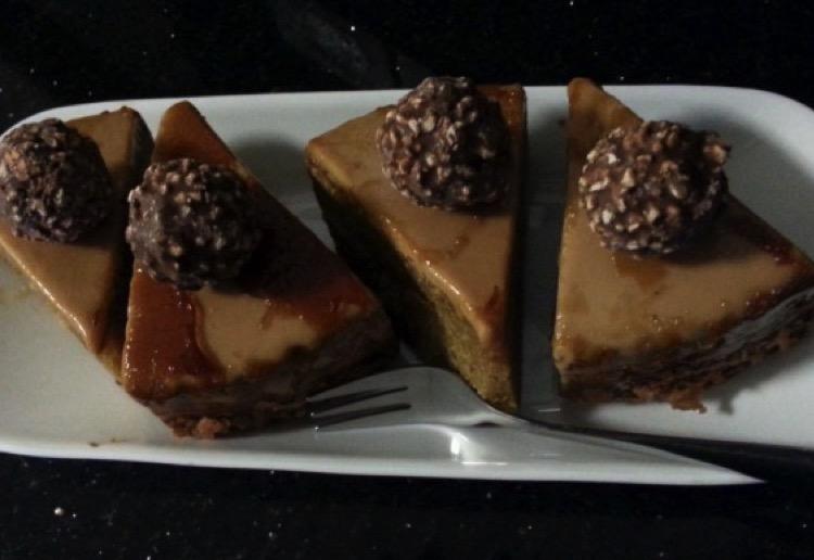 Caramel Mud Cake with caramel icing and glaze.