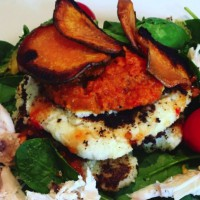 Cauliflower Patties with Roasted Capsicum and Carrot Pesto