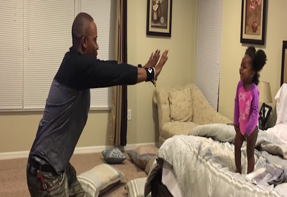 Video: Dad uses superpowers on daughter