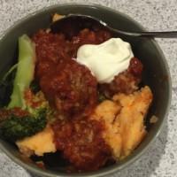 Porcupine Balls with Mash, Broccoli and Yoghurt