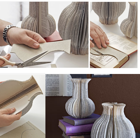 Decorative Vases made from old books