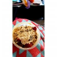 Yummy breakfast muesli and yoghurt