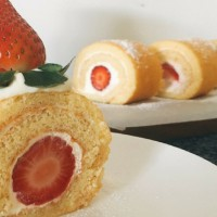 Strawberry Swiss Roll with Yoghurt Cream