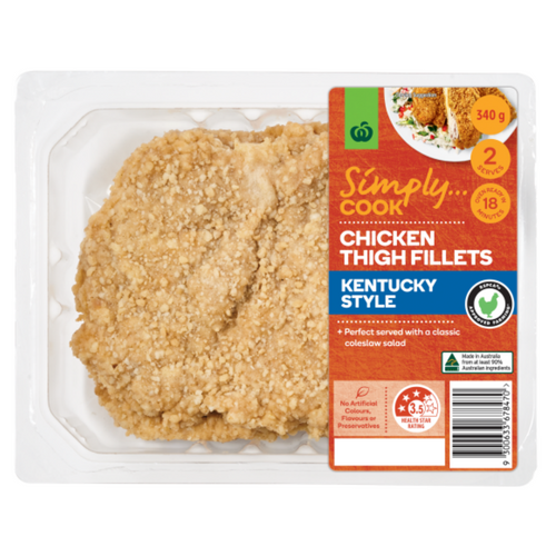 woolworths summer meats and salads product review_product shot_chicken thigh fillets kentucky style_500x500