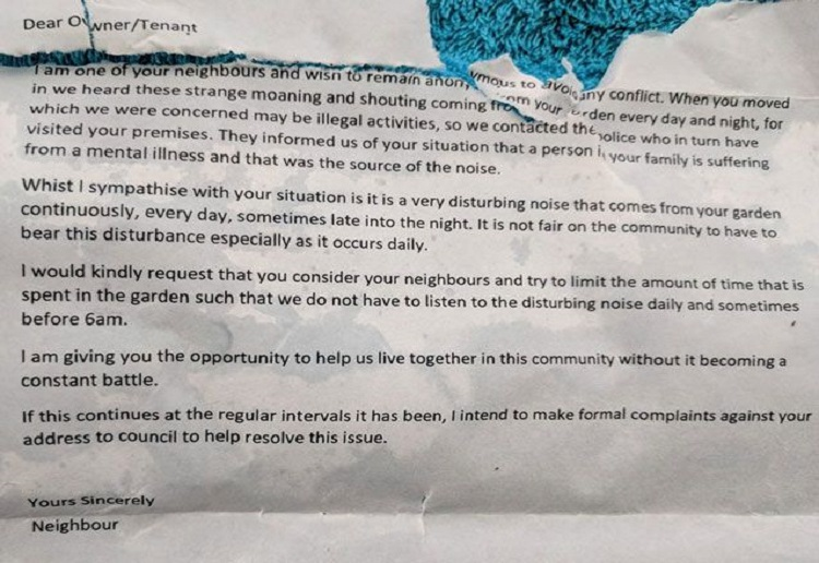 Mum Who Received Nasty Note About Autistic Son Says It's Not OK to Bully People