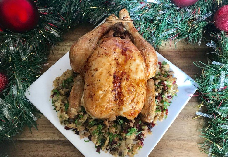 Roasted Chicken with Cranberry & Pistachio Stuffing