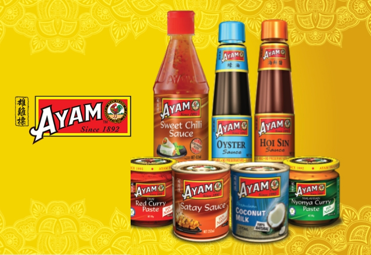 ayam logo with a selection of ayam asian products like oyster sauce, hoi sin sauce, coconut milk, curry paste