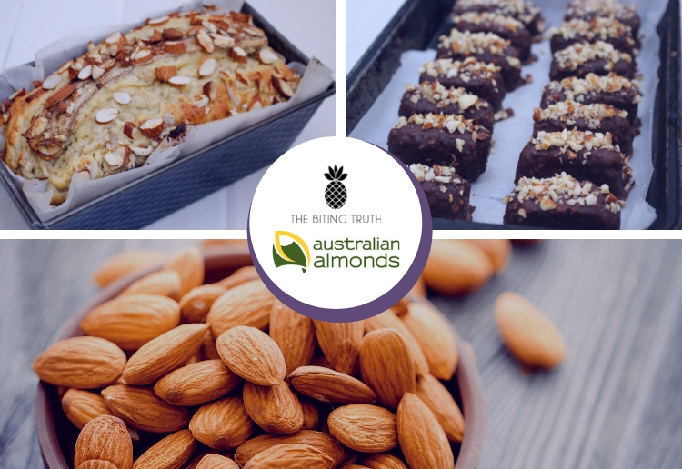 Almond Recipes compilation image including a Banana and Almond Loaf and Healthy Snickers Bars with Australian Almonds and The Biting Truth logo