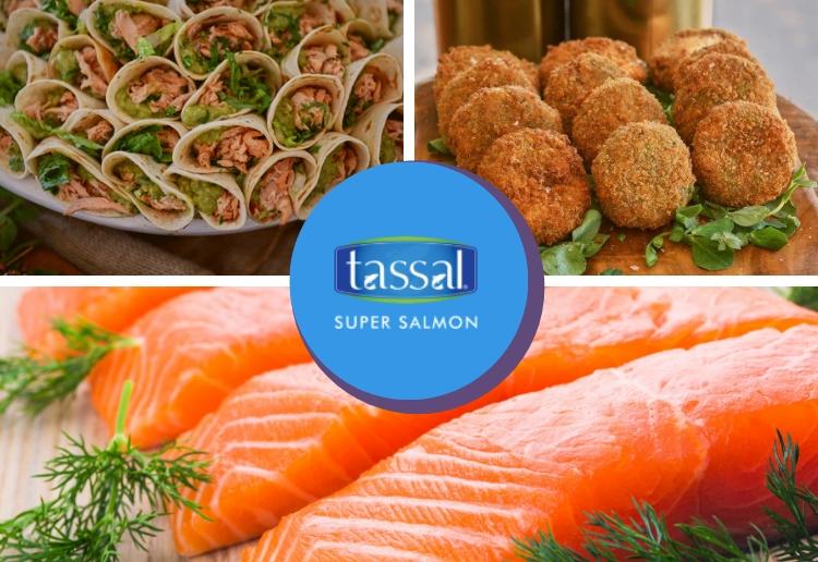 Beautiful fresh glossy salmon fillets, salmon tacos and salmon and sweet potato patties with Tassal Salmon logo