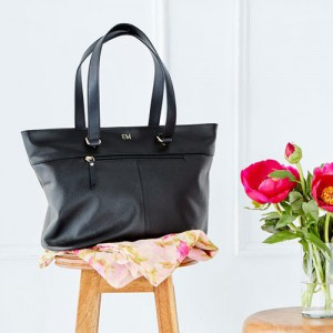 Black Leather Tote Bag with Personalised Monogram - Gifts Auatralia 3