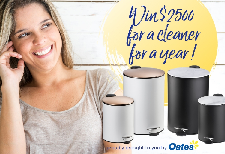 Happy smiling woman with oates kitchen and bathroom bins and win $2500 for a cleaner for a year with oates
