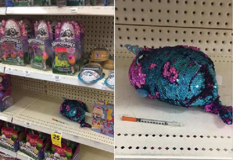 Dad Horrified to Discover a Syringe on a Shelf With Kids Toys in Big W Store